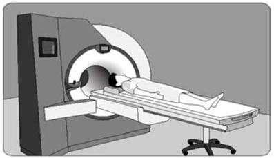 An image showing a patient in a MRI m